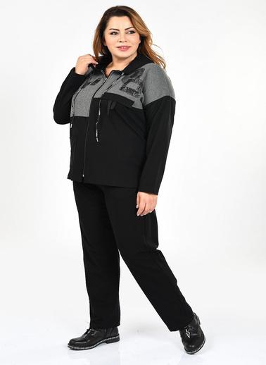WHIP Design Baskılı Kapşonlu Uzun Kol Pamuk Eşofman Takım Siyah